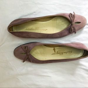 Salvatore Ferragamo Lilac Suede Flats With Bow